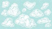 Hand drawn vintage clouds set. Ink illustration.