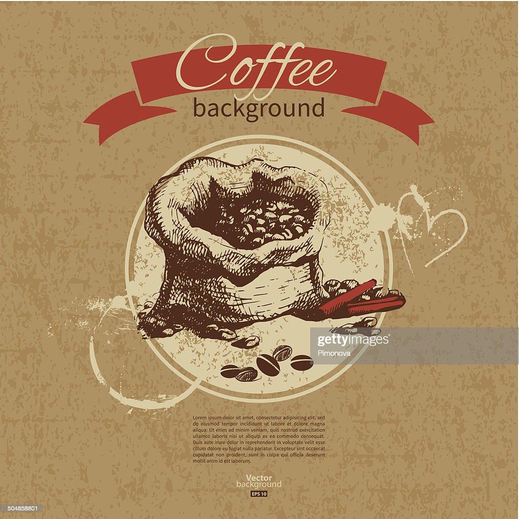Hand drawn vintage coffee background. Menu for restaurant, cafe,