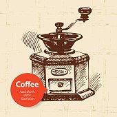 Hand drawn vintage coffee background