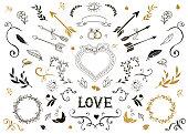 Hand drawn vintage decorative elements with lettering.  Floral design wedding