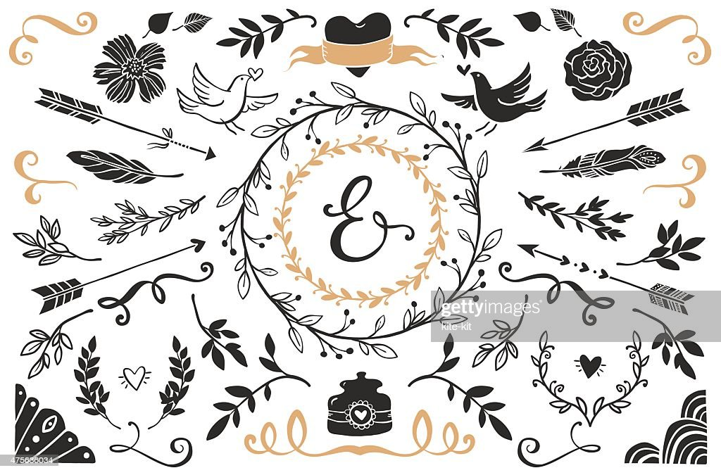 Hand drawn vintage decorative elements with lettering.