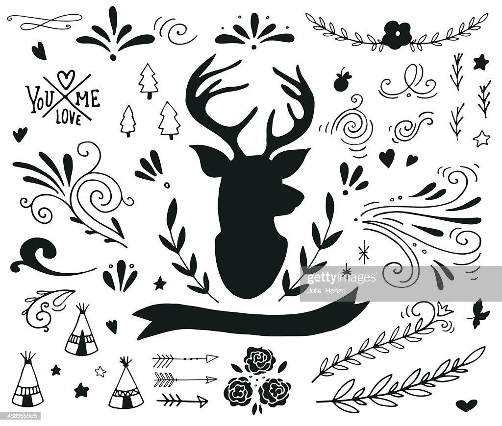 Hand drawn vintage design elements with a reindeer