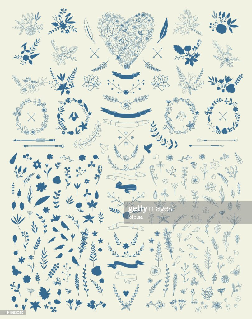 Hand Drawn vintage floral elements. Set of flowers. Decorative elements