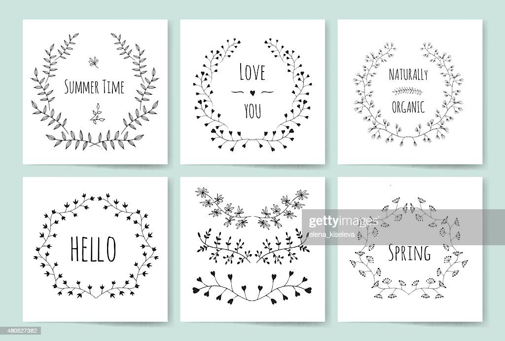 Hand drawn vintage floral elements : Vector Art