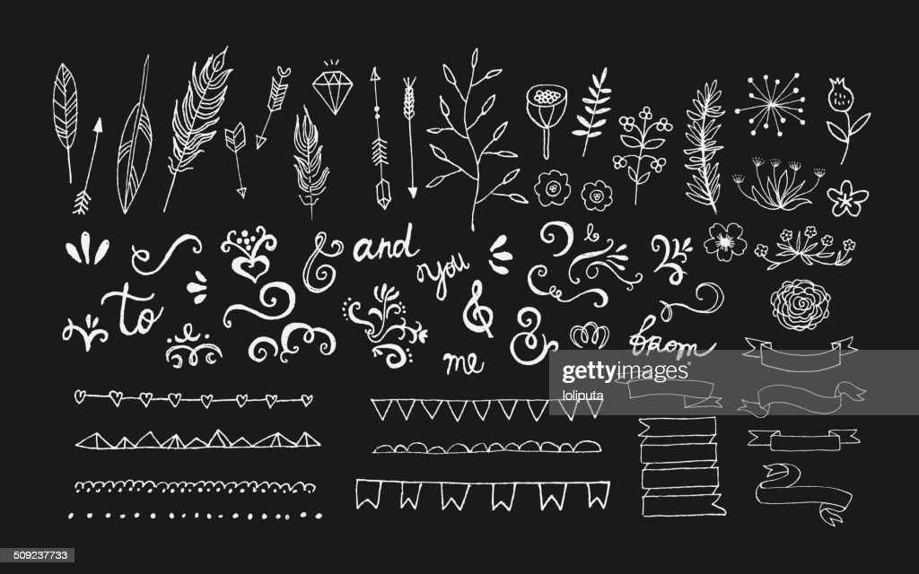 Hand Drawn vintage floral elements. Vector. Isolated.