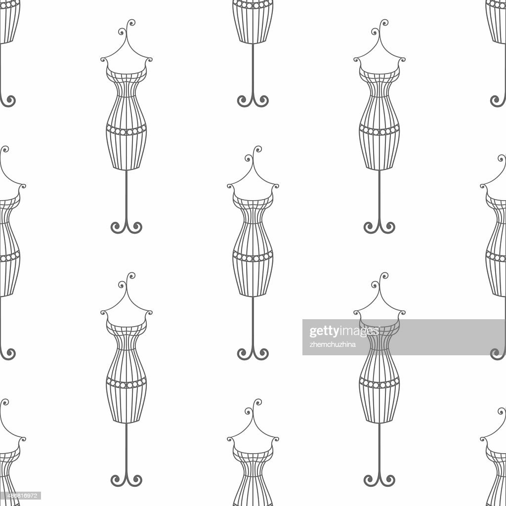Hand drawn vintage iron mannequin seamless pattern. Doodle illustration