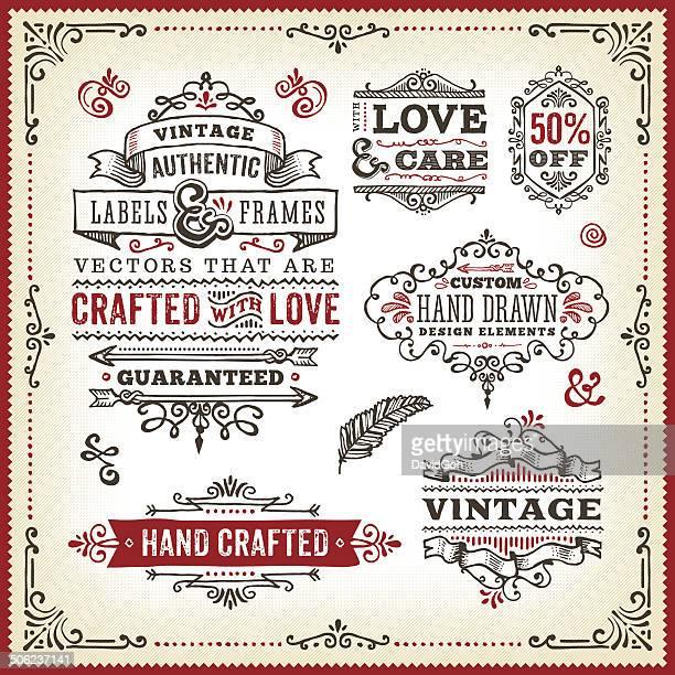 Hand Drawn Vintage Label Set