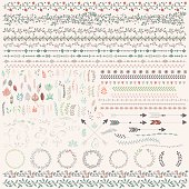 Hand drawn vintage leaves, arrows, feathers, wreaths, dividers, ornaments