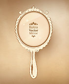 Hand drawn vintage mirror.