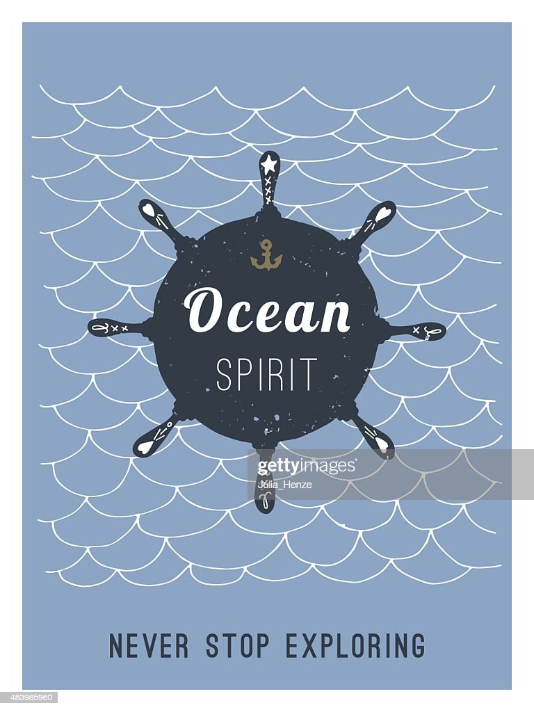 Hand drawn vintage nautical card with grunge patterns and textur
