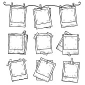 Hand drawn vintage photo frame doodle set