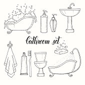 Hand drawn vintage set of objects from the bathroom. Bathtub, toilet, washbasin, shower, soap, shampoo, towel, toothbrush, toothpaste. Hand made lettering. Vector