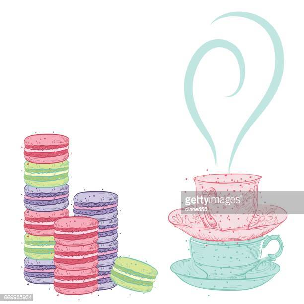 hand drawn vintage style tea elements - macaroon stock illustrations, clip art, cartoons, & icons