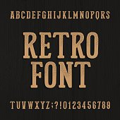 Hand drawn vintage typeface. Retro alphabet font.