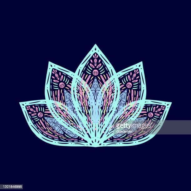 hand drawn water lily lotus mandala pattern background. henna, mehndi tattoo  decoration. decorative ornament in ethnic oriental style. - mandalas india stock illustrations
