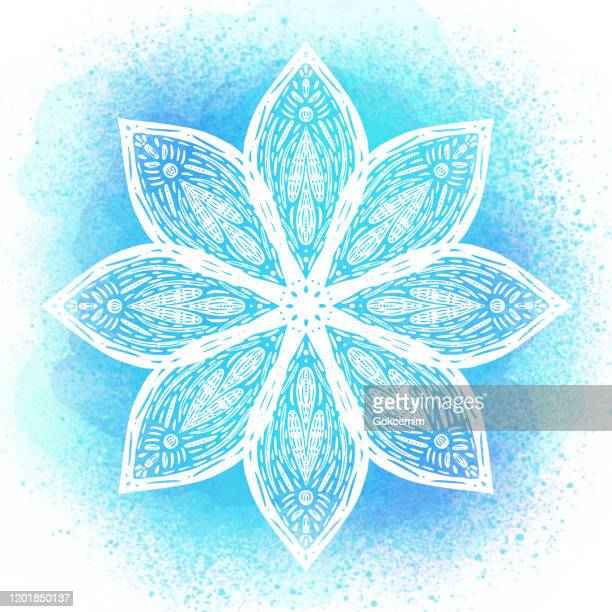 hand drawn water lily lotus mandala with blue watercolor background. henna, mehndi tattoo  decoration. decorative ornament in ethnic oriental style. - mandalas india stock illustrations