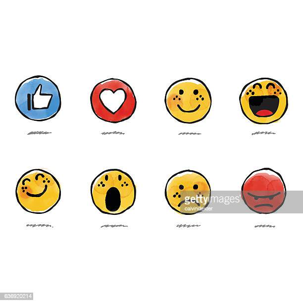 hand drawn watercolor basic emojis - emotion stock illustrations
