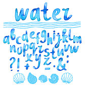 Hand drawn watercolor blue alphabet
