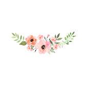 Hand drawn watercolor bouquet. Design for card, invitation.