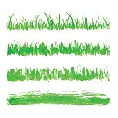 Hand drawn watercolor grass set