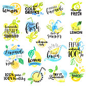 Hand drawn watercolor labels and signs of lemon and lemonade