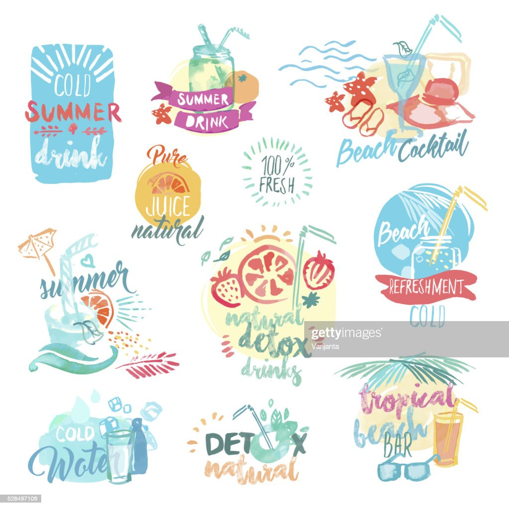 Hand drawn watercolor labels of fresh fruit juice and drinks