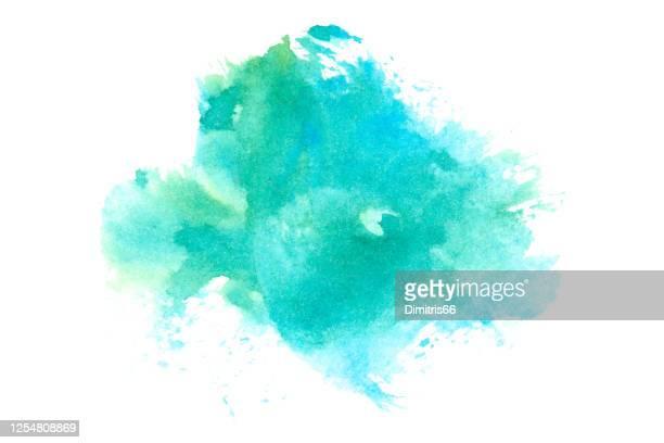hand gezeichnet aquarell fleck. - wasserfarbe auf papier stock-grafiken, -clipart, -cartoons und -symbole