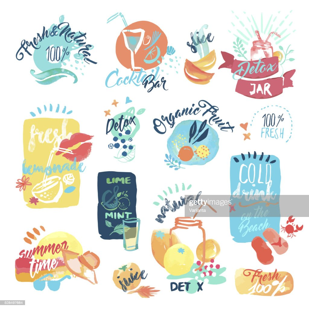 Hand drawn watercolor stickers of fresh fruit juice and drinks
