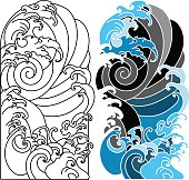 hand drawn wave for tattoo design,background for Japanese tattoo, Ocean and wave vector set