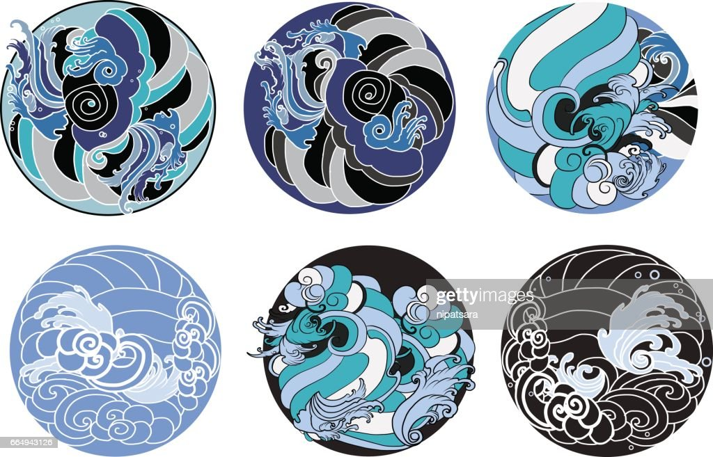hand drawn wave in circle for tattoo design