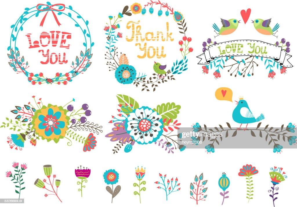 Hand drawn wedding graphic. Flowers and wreaths for invitations