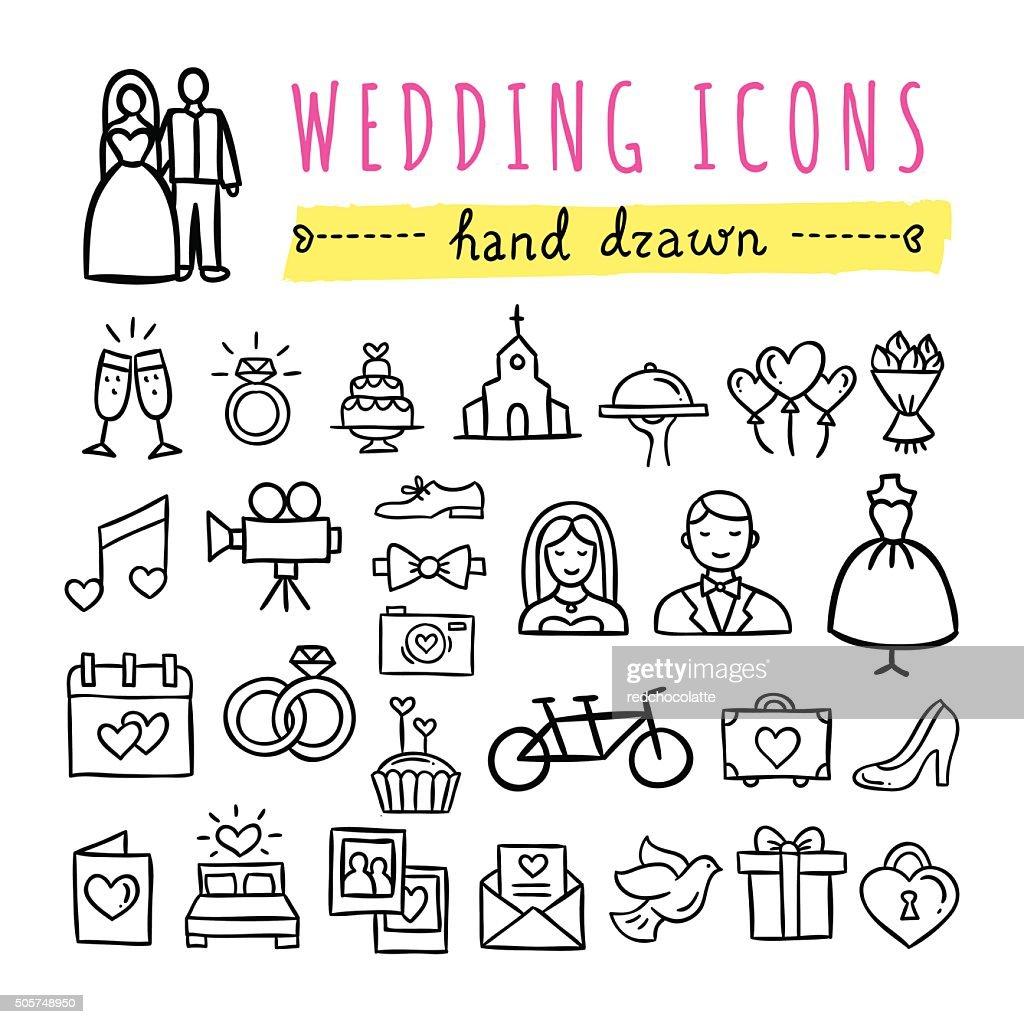 Hand drawn wedding icons. Marriage, engagement, love, couple, honeymoon symbols