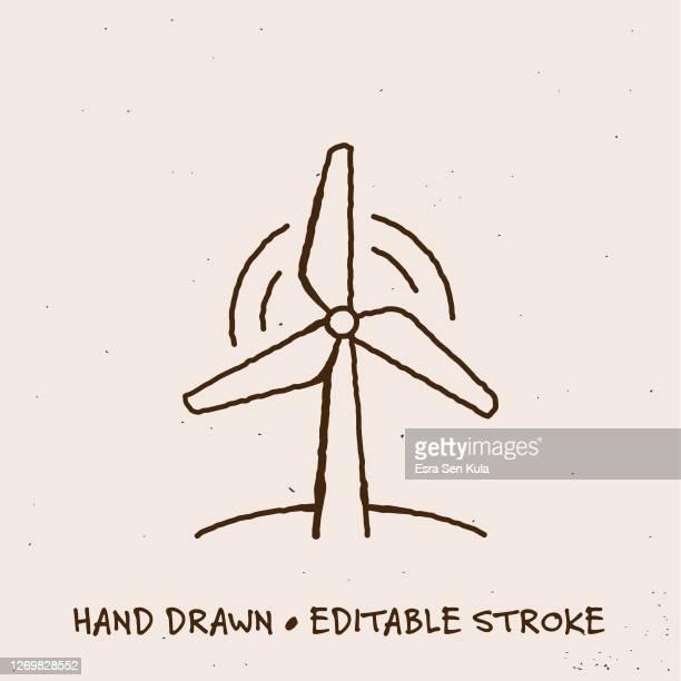 編集可能なストロークを持つ手描き風力タービンラインアイコン - 持続可能な開発目標点のイラスト素材/クリップアート素材/マンガ素材/アイコン素材