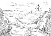 Hand drawn windmills against the background of mountains and water.