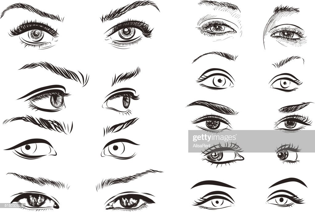 hand drawn woman eyes collection on white background. Vector