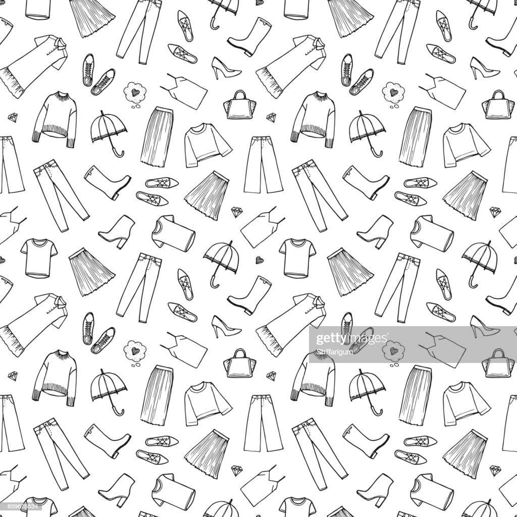 Hand drawn women's clothing. Vector illustration on white background. Seamless pattern