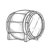 Hand drawn Wooden barrel