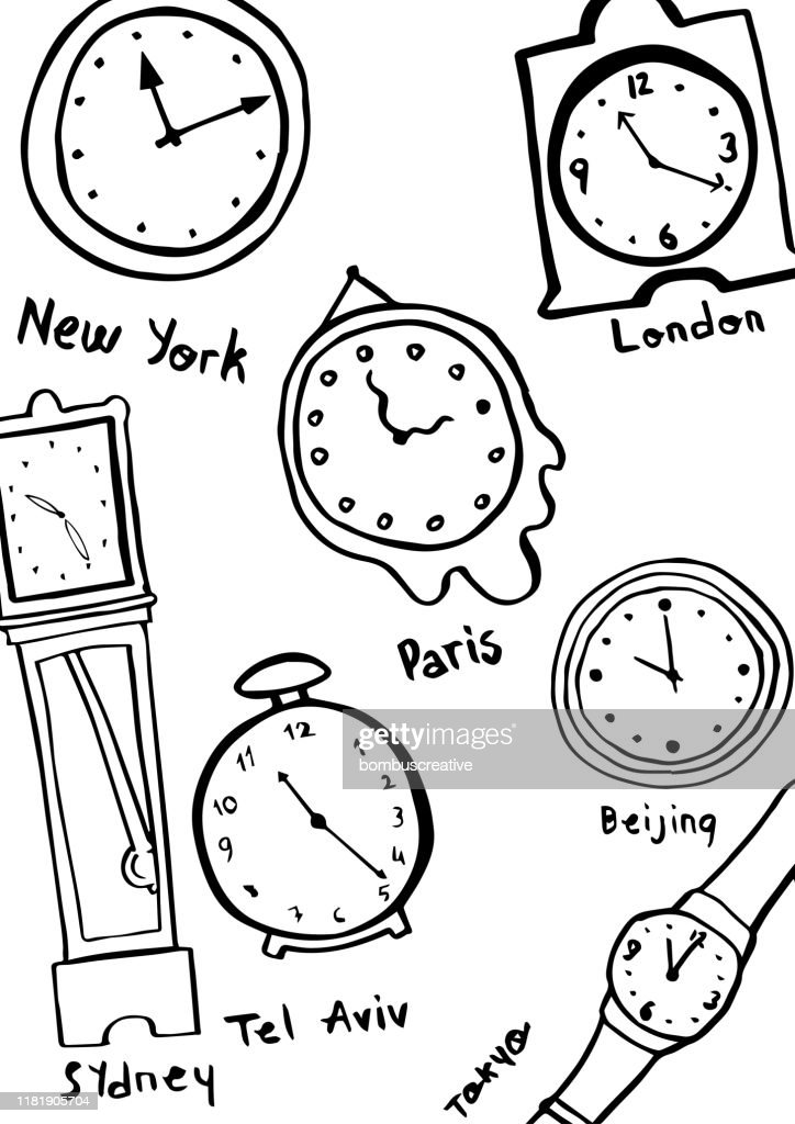 Hand Drawn World Clocks And Watches Background High Res