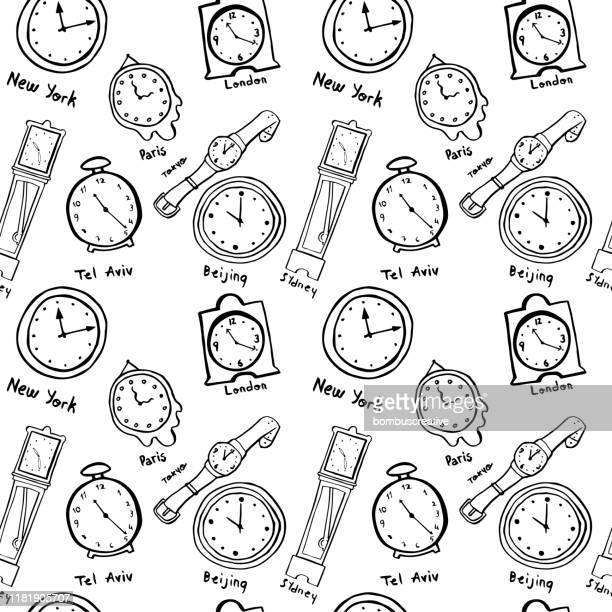 illustrazioni stock, clip art, cartoni animati e icone di tendenza di orologio e orologi del mondo disegnati a mano sfondo - orologio da polso