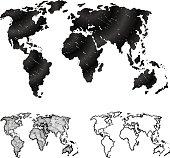 Hand drawn world map in three versions