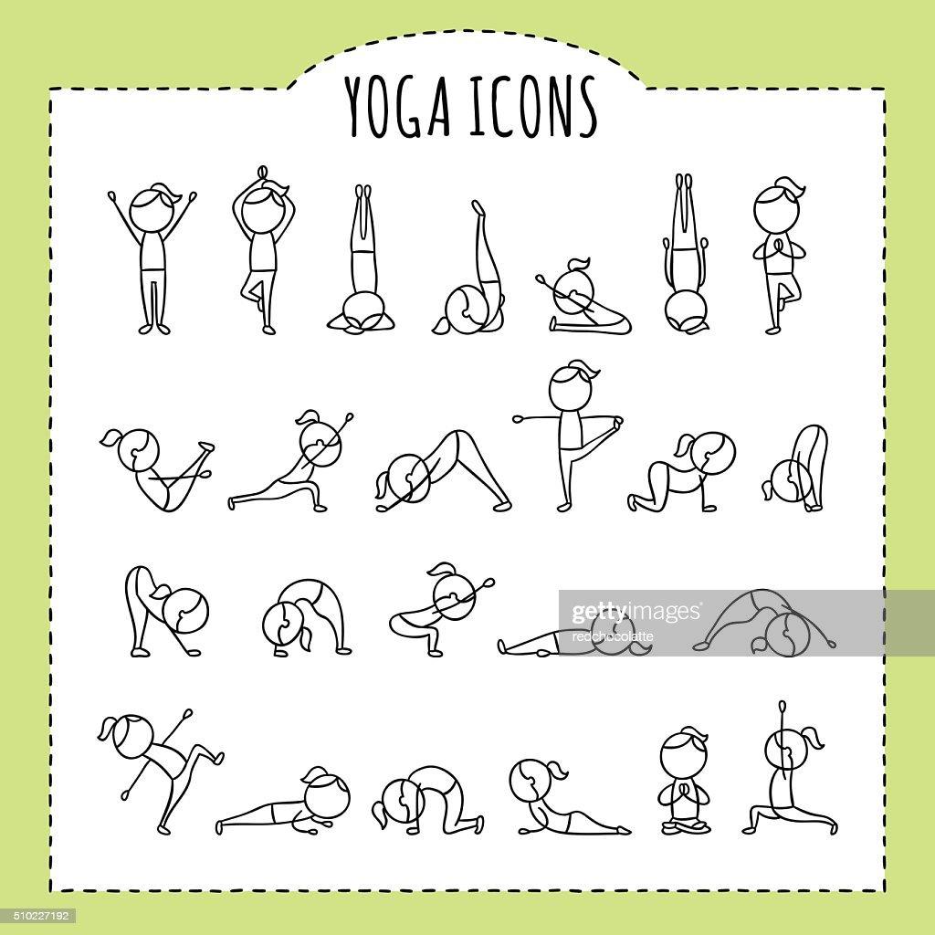 Hand drawn yoga poses. Yoga asanas. Gymnastics exercises, stretching, meditation.