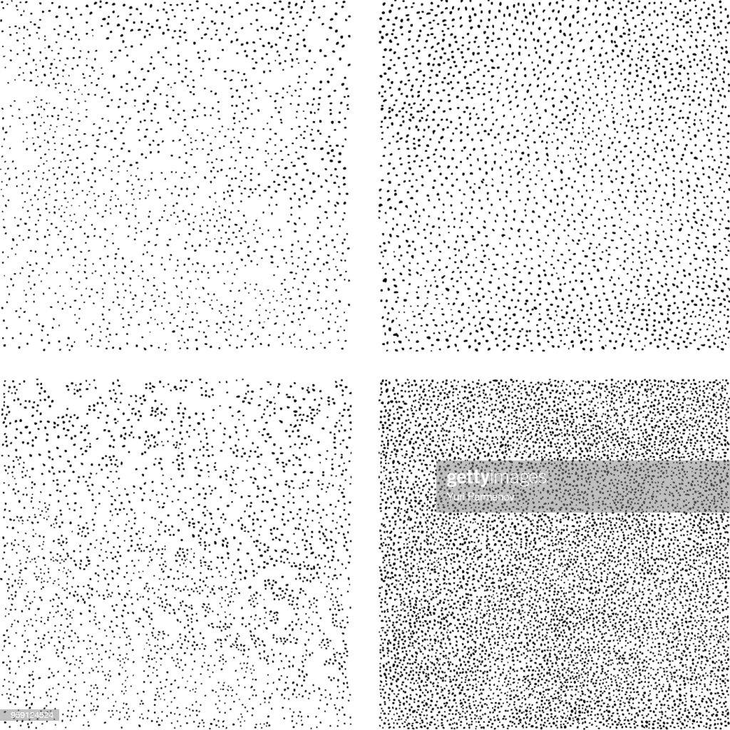 Hand draws dots seamless texture. A set of backgrounds for decorative halftone pattern fills. Mezzotint art.
