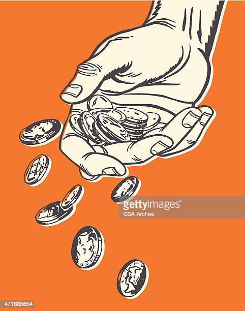 Hand Dropping Coins