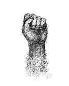 Hand elbow raised up, clenched fist engraving