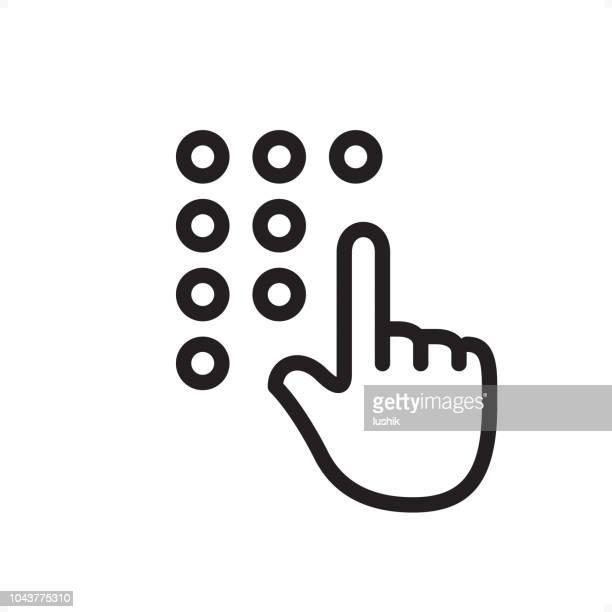 hand eingeben passcode - symbol - pixel perfect zu skizzieren - code stock-grafiken, -clipart, -cartoons und -symbole