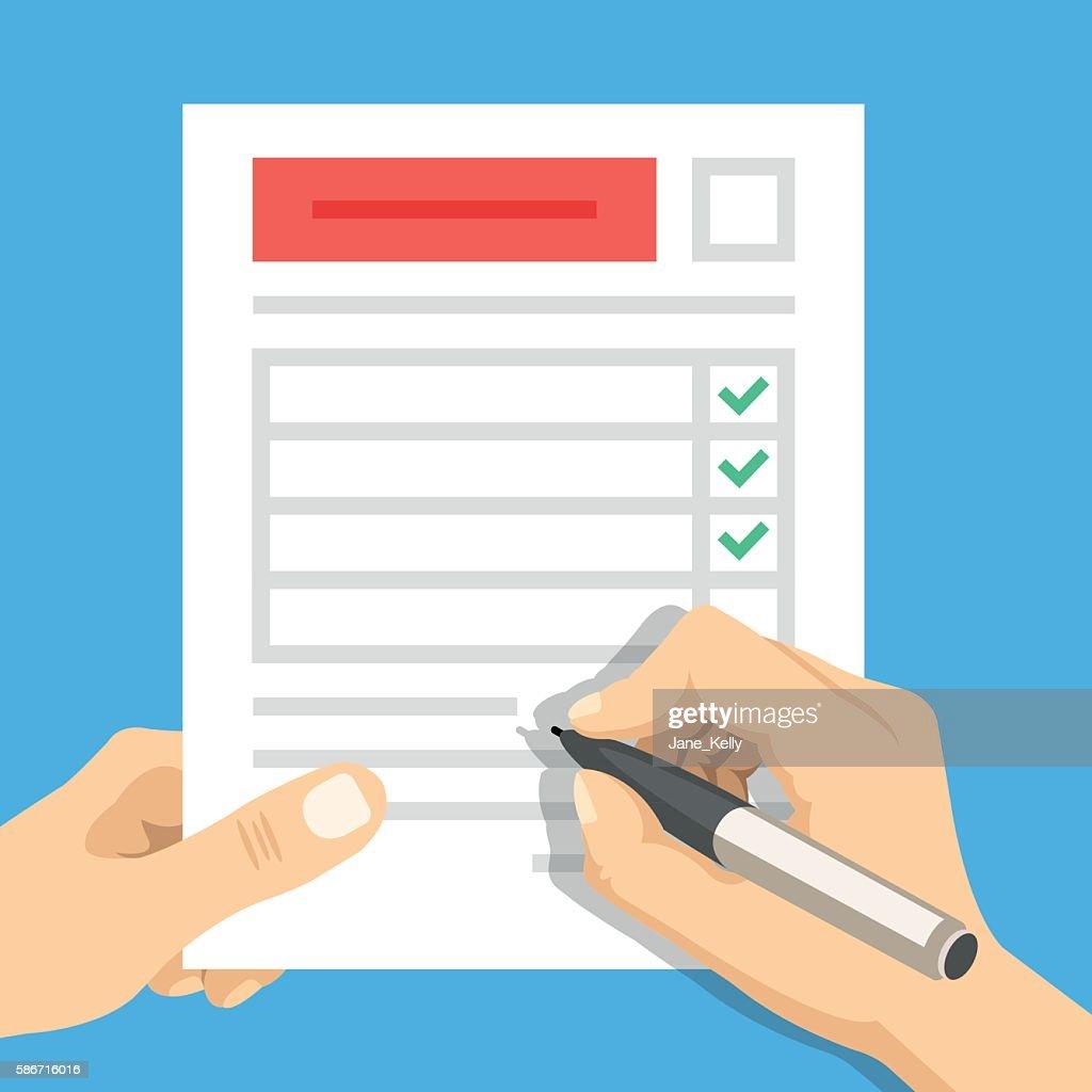 Hand filling form. Hand holding survey sheet. Flat vector illustration