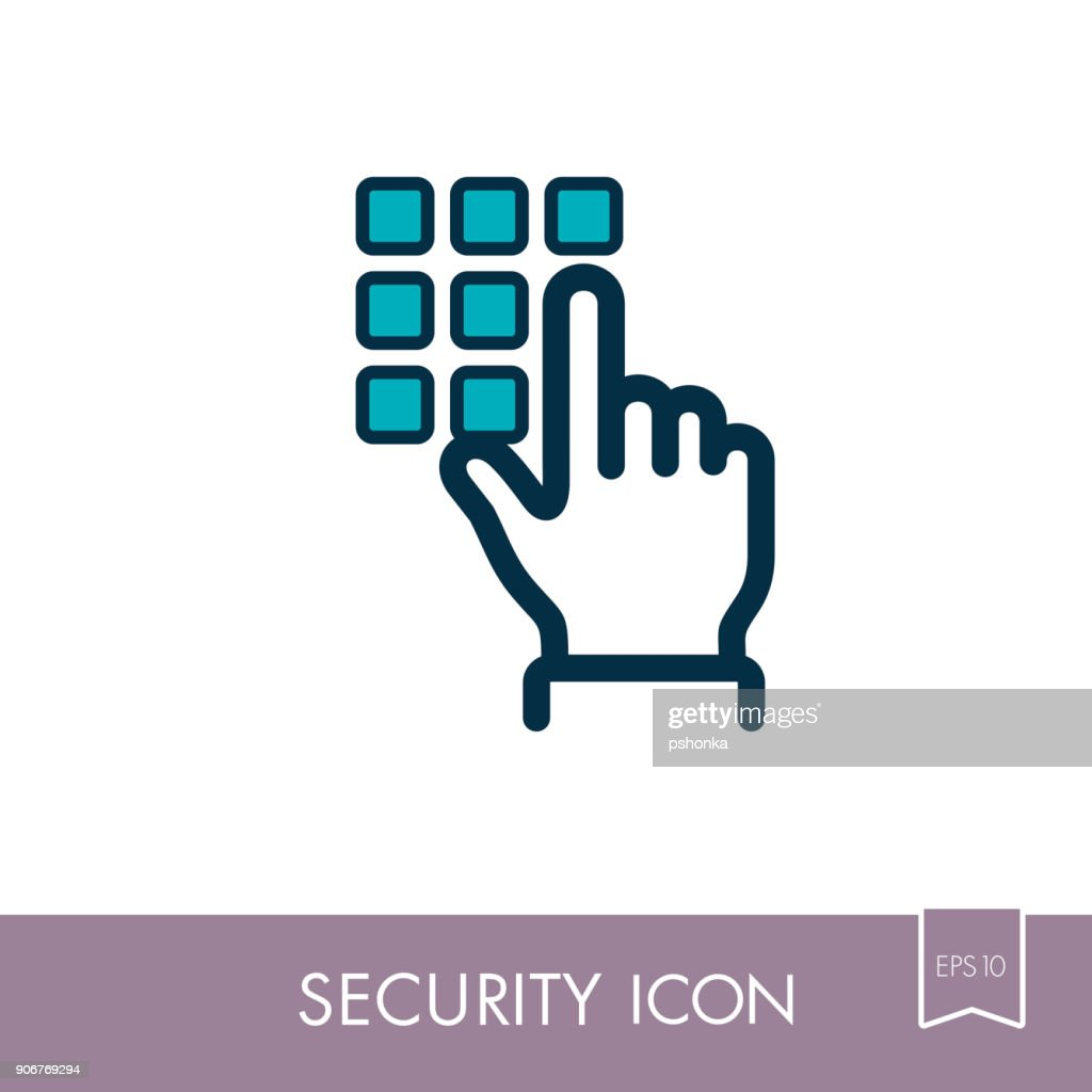 Hand finger entering pin code solid icon