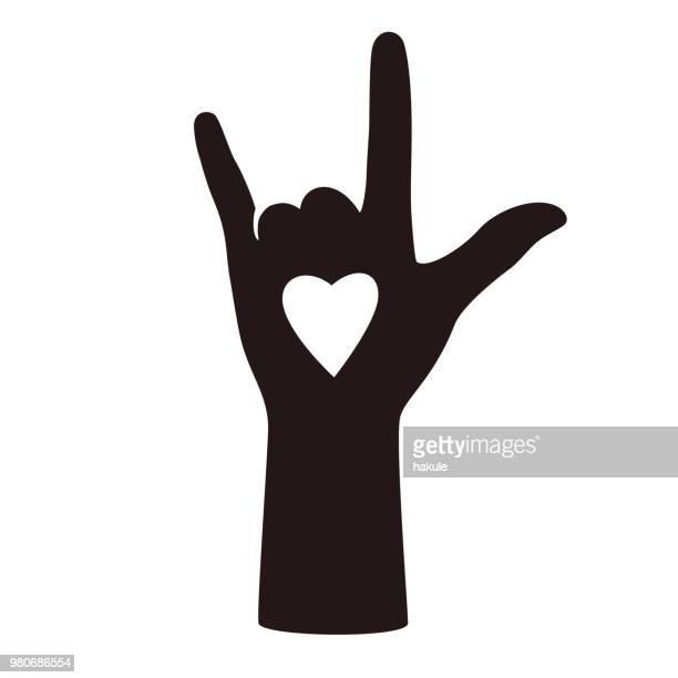 hand gesticulate rock symbol  vector illusatration - horned stock illustrations