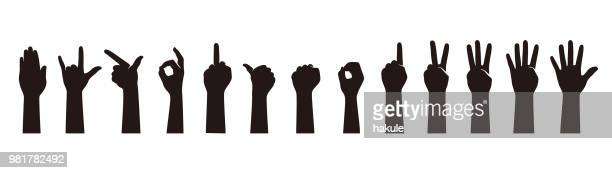 hand gesticulate symbol set, vector illusatration - counting stock illustrations