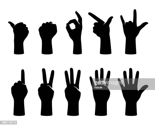 hand gesticulate symbol set, vector illustration - number 1 stock illustrations, clip art, cartoons, & icons